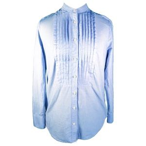 J.Crew Blue Pintuck Band Collar Tuxedo Shirt